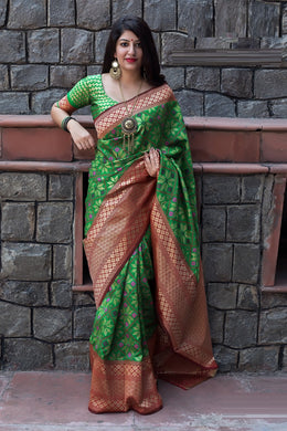 Imprexis Green Patola Silk Heavy Hand Woven Work With Superb Saree