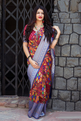 Christmas Special Maroon Patola Silk Heavy Hand Woven Work With Superb Saree