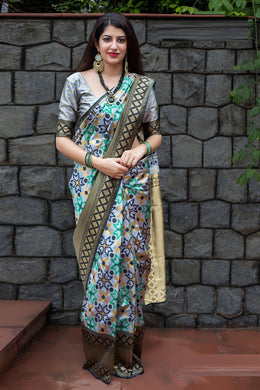 Enigmatic Grey Patola Silk Heavy Hand Woven Work Withsuperb Saree