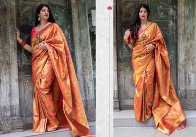 Endearing Orange Moukthika Silk Heavy Hand Woven Work With Superb Saree