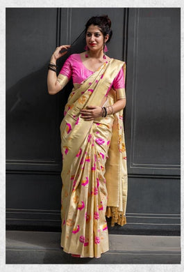 Imperial Cream Moukthika Silk Heavy Hand Woven Work With Superb Saree