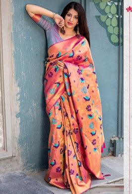 Exceptional Peach Moukthika Silk Heavy Hand Woven Work With Superb Saree
