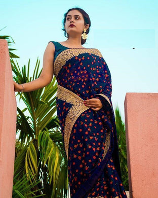 Attractive Blue Color Georgette Embroidery + Diamond Work Saree With Blouse