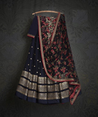Attractive Designer Navyblue Color Embroidery + Sequence Work Lehenga Choli