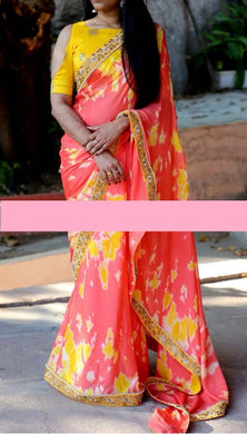 Amazing Red And Yellow Combination Shibori Printed Saree With Work Blouse