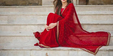 Attractive Red Color Embroidery + Moti Work Georgette Saree