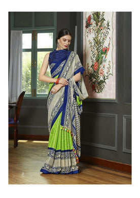 Marvelous Green And Navyblue Linen Juth Tussle Printed Saree With Blouse