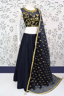 Attractive Black Color Indian Wear Lehenga Choli With Work Dupatta