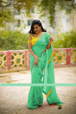 Awesome Teal Color Georgette Embroidery + Mirror Work Saree With Blouse