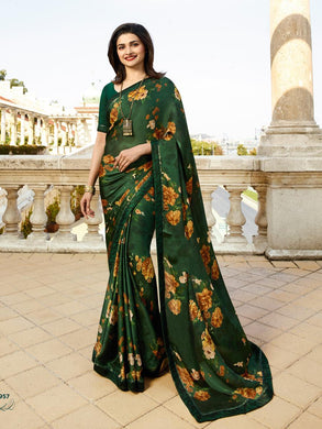 Attractive Green Color Georgette Printed Saree With Blouse