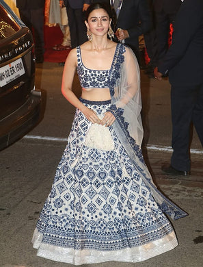 Alia Bhatta Bollywood White Color Silk Printed Lehenga Choli
