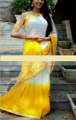 Amazing Designer Yellow And White Thread Work Saree With Blouse
