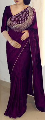 Attractive Wine Color Paper Silk Pearl Work Saree With Blouse