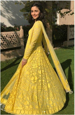 Amazing Yellow Color Alia Bhatt Georgette Chain Stitch Embroidery Salwar Suit