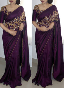 Fabulous Designer Wine Color Embroidery Paper Silk Saree With Blouse