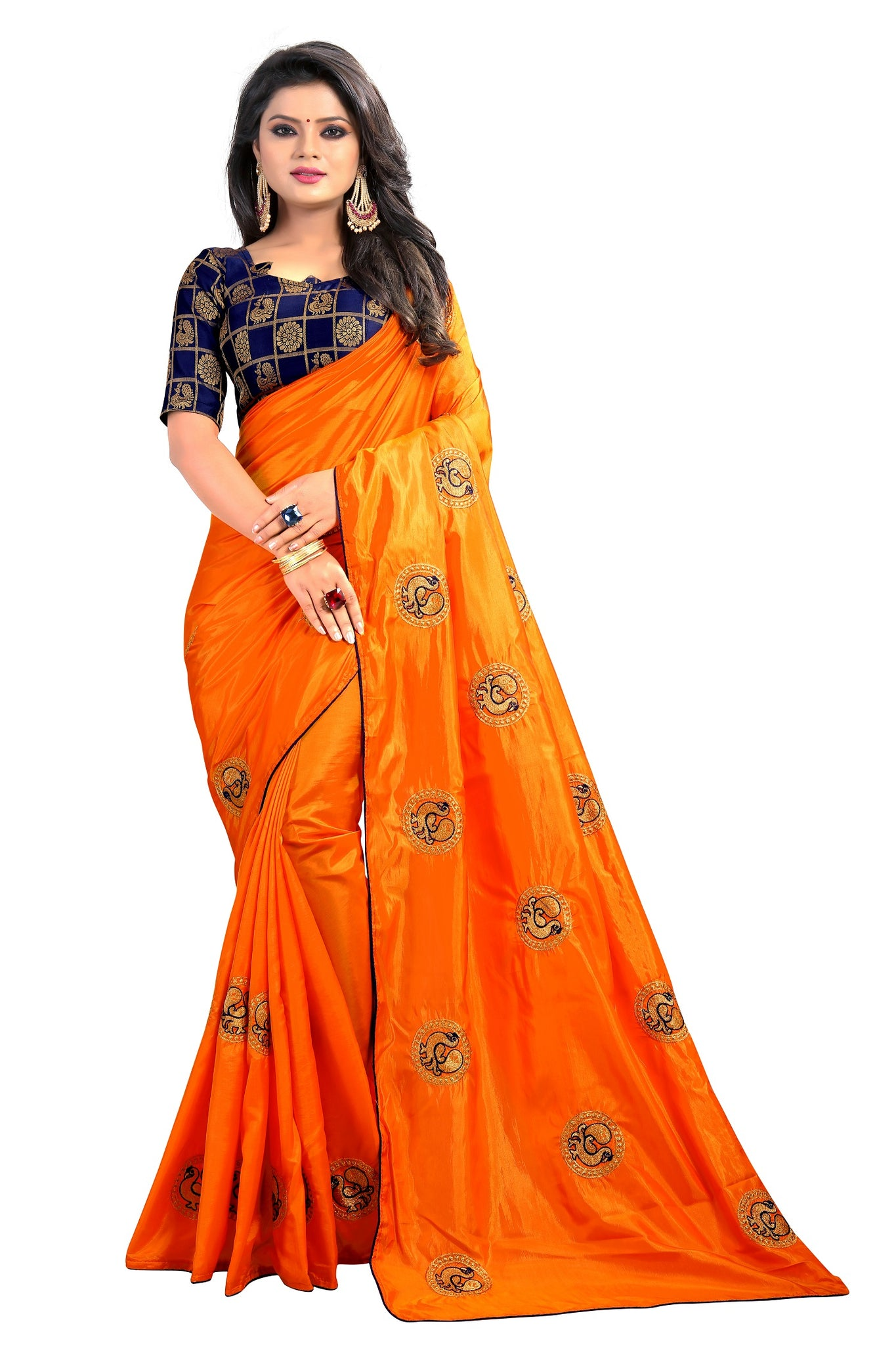 68a91b1a17e23 Peacock Design Embroidered Paper Silk Saree With Designer Brocade Blouse ...
