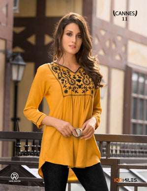 Heavy Rayon Yellow Color Designer Top