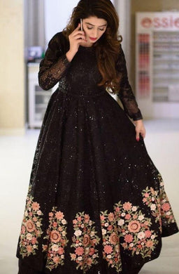 New Collection Black Colour Rasal Net With Embroidery Work Gwon