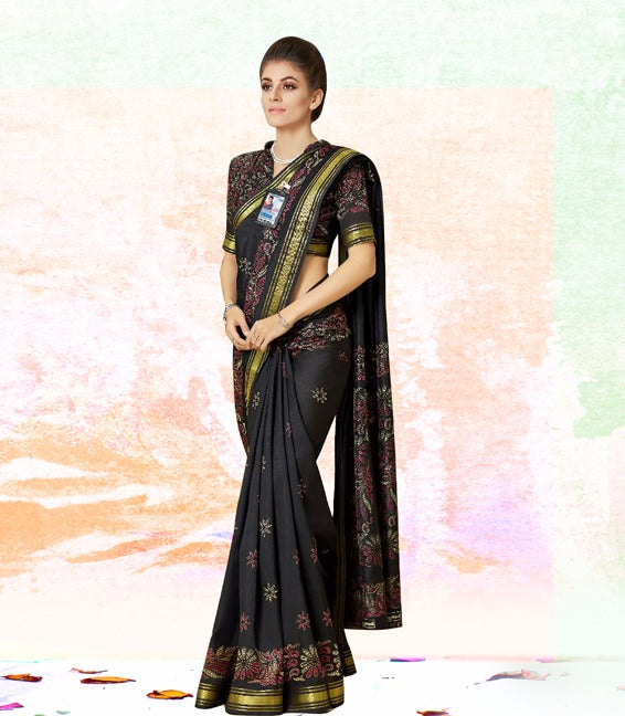 Attractive Black New Trendy Latest Soft And Smooth Khadi Silk Print  Saree