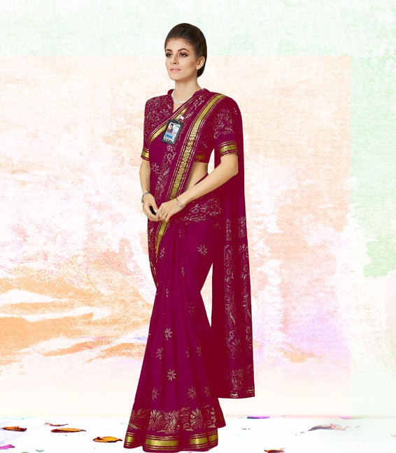 Attractive Purple Color New Trendy Latest Soft And Smooth Khadi Silk Print  Saree