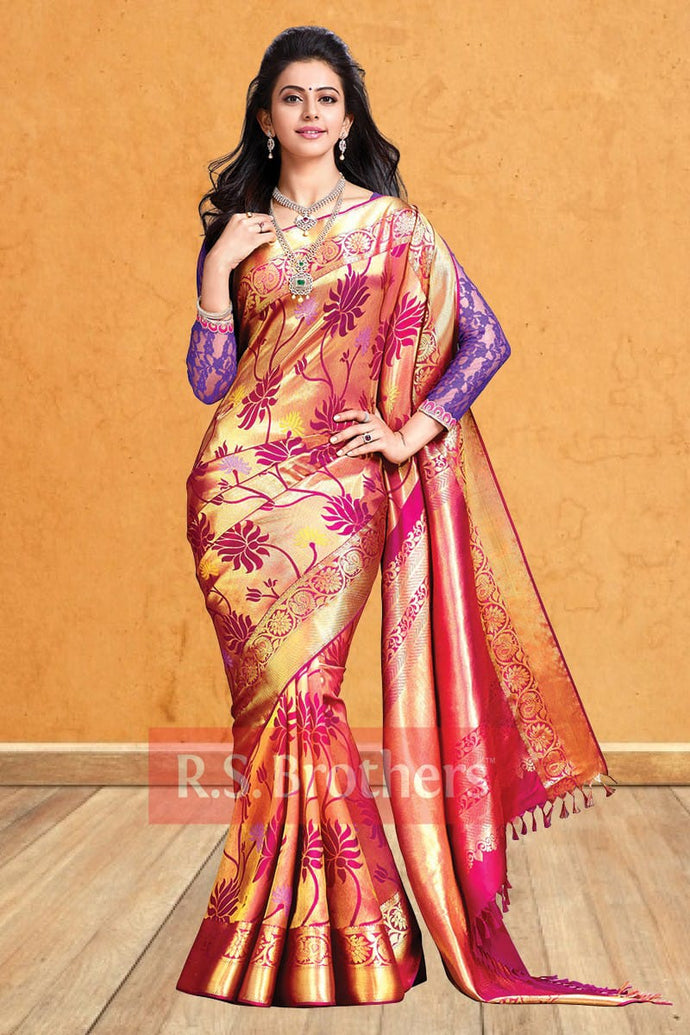 Multicolor New Trendy Latest Soft And Smooth Golden Zari Digital Print Saree