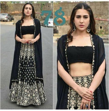 New Beautiful Glam Black Sara Ali Khan Taffeta Silk Embroidery Work Designer Circular Lehenga