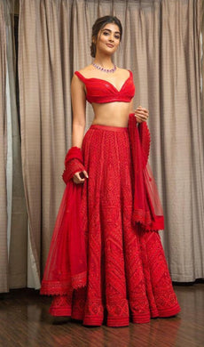 New Hot Red Georgeous Looking Georgette Embroidered Lehenga Choli