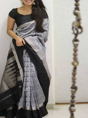 New Grey New Trendy Latest Collection Soft And Smooth Golden Zari Digital Print Saree