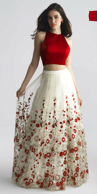 Attractive White Net Embroidery Work Circular Lehenga Choli