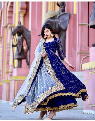 Hot New Blue Georgette Embroidery Work Wedding Wear And Party Wear Red Color Anarkali Dress
