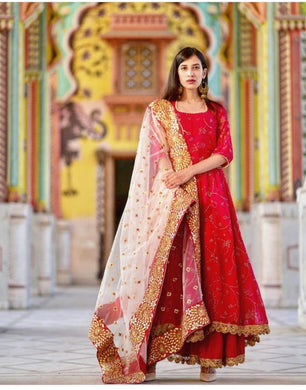 Hot New Red Georgette Embroidery Work Wedding Wear And Party Wear Red Color Anarkali Dress