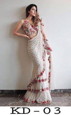 Fency Looking White Net Three Ruffle Layer With Embrodari Work Saree