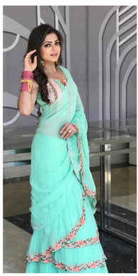 Fency Looking Rama Georgette Three Ruffle Layer With Embrodari Work Saree
