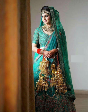 Bridal Heavy Sky Blue Colore Silk Embroidery Lehenga Choli In Heavy Payor Nailon Sillk