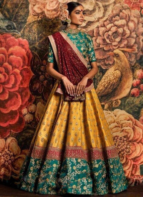 Awesome Yellow Colour Banglori Silk Full Emroderiy Work Legha Choli With Duppta Georget Lehenga
