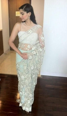 Attractive Bollywood Designer White Hevye Net With Full Embroidered Work Saree