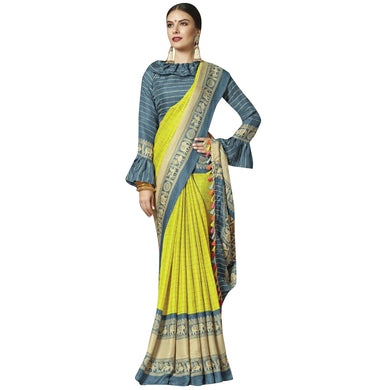 New Linen Juth Printed Yellow Designer Saree With Blouse
