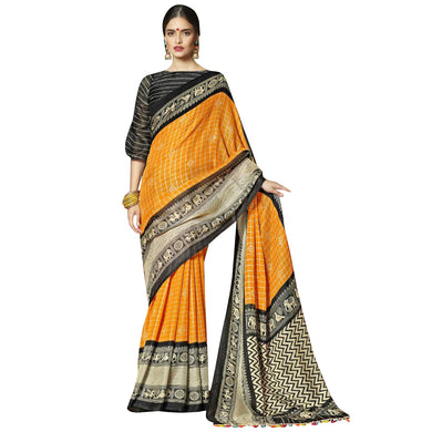 New Linen Juth Printed Orange Designer Saree With Blouse