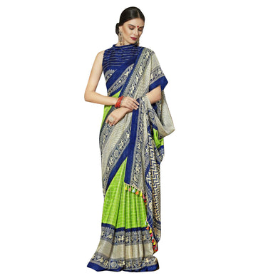 New Linen Juth Printed Green Designer Saree With Blouse