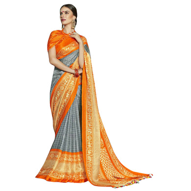 New Linen Juth Grey Printed Designer Saree With Blouse