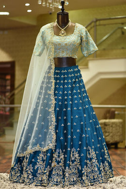 Blue Color Wedding Heavy Banglorysilk Embroidered Lehenga Choli