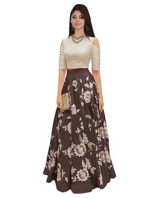 Coffee Evergreen Design Banglory Satin Silk Embroidered Lehenga Choli