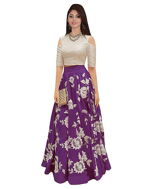 Purple Evergreen Design Banglory Satin Silk Embroidered Lehenga Choli