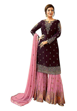 Attractive Bollywood Purple Color Faux Georgette Embroidered Salwar Kameez Plazzo Sui