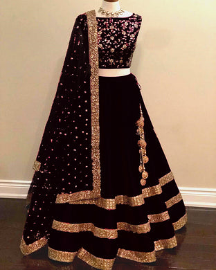 Exclusive Black Color Awesome Taffeta Silk Embroidered Lehenga Choli