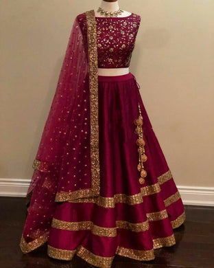 Bollywood Maroon Color Awesome Taffeta Silk Embroidered Lehenga Choli