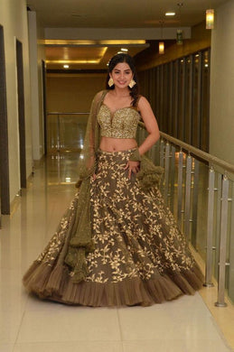 Brown Color Heavy New Wedding Net Embroidered Lehenga Choli