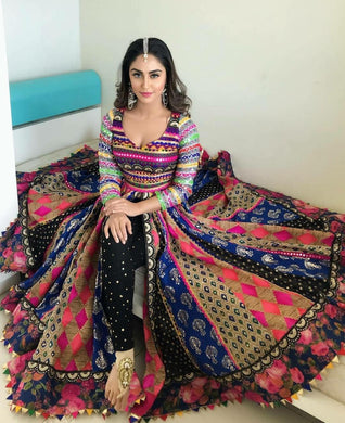 Bollywood Navratri Multicolor Banglory Satin Silk Printed Lehenga Choli