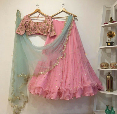 Awesome Baby Pink Color Faux Georgette Embroidered Lehenga Choli