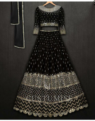 Black Color Wedding Heavy Good Coine Embroidered Lehenga Choli